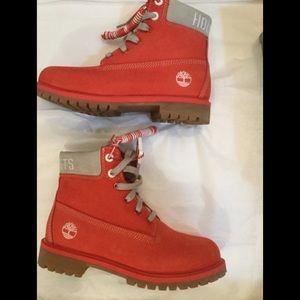 Boys Timberland premium boot medium red unbuckle